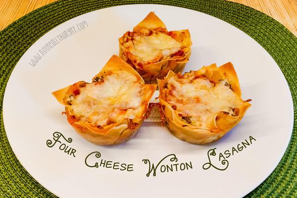Four Cheese Wonton Lasagna